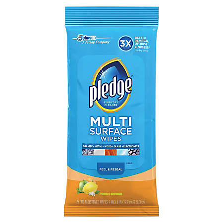 "Pledge Multi Surface Cleaner Wipes - Wipe - Citrus Scent - 7"" Width x 8"" Length - 25 / Pouch - 12 / Carton - White"