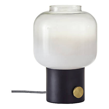 "Adesso® Lewis Table Lamp, 12""H, White Shade/Matte-Black Base"