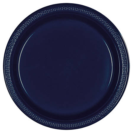 """Amscan Round Plastic Plates, 7"""", True Navy, Pack Of 80 Plates"""