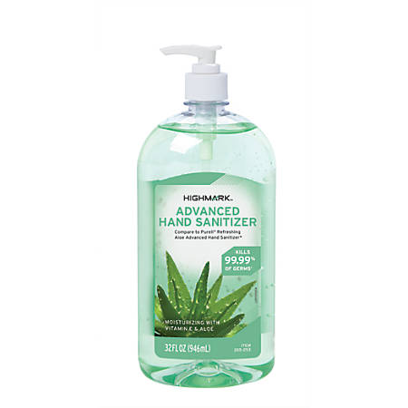Highmark® Advanced Hand Sanitizer, Aloe, 32-Oz Bottle