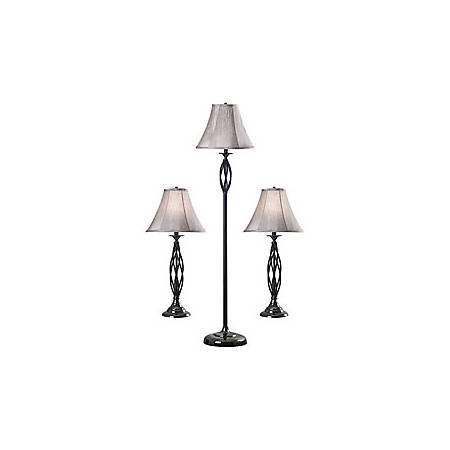 Kenroy Sperry Lamps, Bronze/Silver, Set Of 3