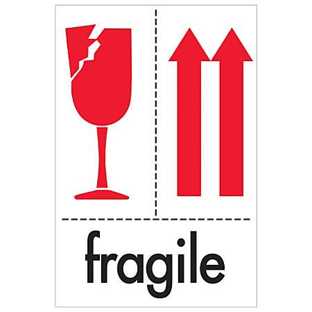 """Tape Logic® Preprinted International Safe-Handling Labels, DL2151, Fragile, Rectangle, 4"""" x 6"""", Red/White/Black, Roll Of 500"""