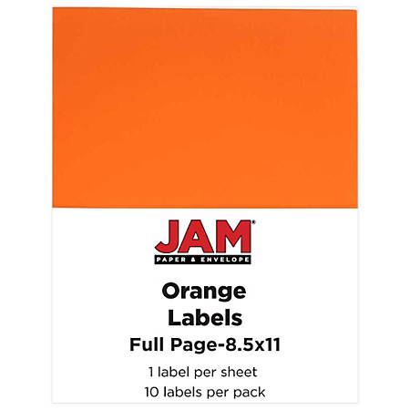 """JAM Paper® Full-Page Mailing And Shipping Labels, 337628612, 8 1/2"""" x 11"""", Orange, Pack Of 10"""