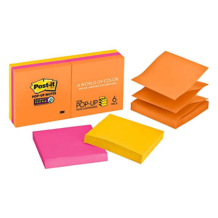 "Post-it® Super Sticky Pop-up Notes, 3"" x 3"", Rio de Janeiro, Pack Of 6 Pads"