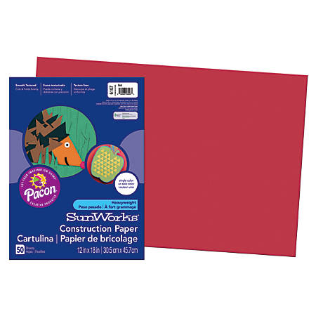 """SunWorks® Construction Paper, 12"""" x 18"""", Red, Pack Of 50"""