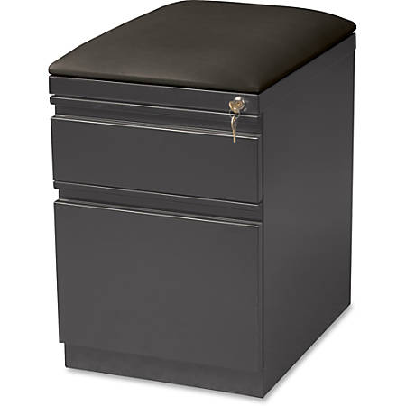 "Lorell® 19 7/8""D 2-Drawer Mobile Letter-Size Pedestal File Cabinet With Seat Cushion, Charcoal"