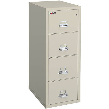 "FireKing® 25 Vertical File, 4-Drawer, Letter-Size, 52 3/4""H x 17 3/4""W x 25""D, Parchment, White Glove Delivery"