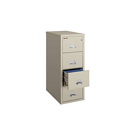 FireKing 25 Legal-Size Vertical File, 4 Drawers, Parchment, White Glove Delivery