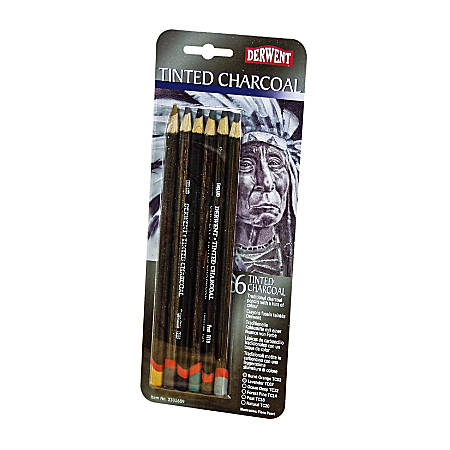 Derwent Tinted Charcoal Pencil Set, 8 mm, Assorted Colors, Set Of 6