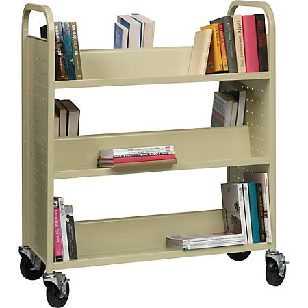 Lorell® Double-Sided Mobile Steel Book Cart, 6-Shelf, Putty