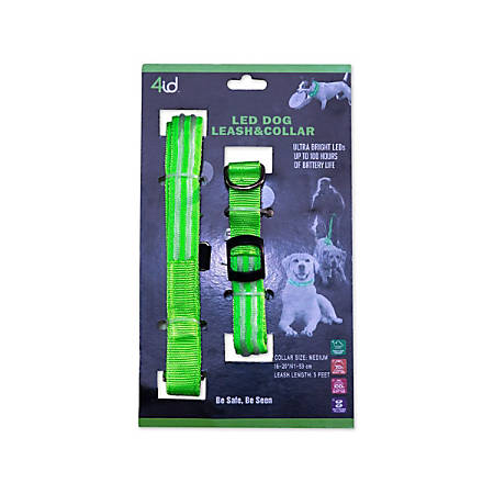 4ID LED Light-Up Leashes And Dog Collar, 5', Green