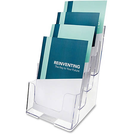 """Deflect-O® 4-Compartment Booklet Holder, 10""""H x 6 13/16""""W x 6 5/16""""D, Clear"""