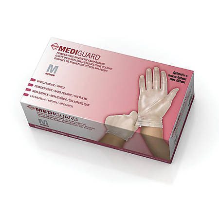 MediGuard® Select Synthetic Vinyl Exam Gloves, Medium, Clear, 150 Gloves Per Box, Case Of 10 Boxes