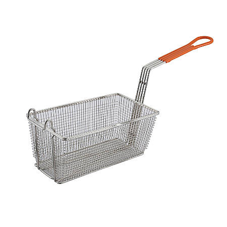 "Winco Fry Basket, 12 1/8""H x 6 1/2""W x 5 3/8""D, 10"" Handle, Orange"
