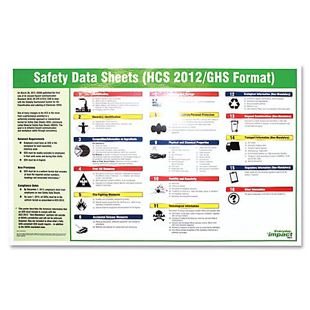"Impact Products Safety Data Sheet English Poster - 32"" Width x 20"" Height - Assorted"