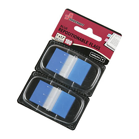 """SKILCRAFT® 70% Recycled Color Self-Stick Flags, 1"""" x 1 3/4"""", Blue, 50 Flags Per Pad, Pack Of 2 (AbilityOne 7510-01-315-2021)"""