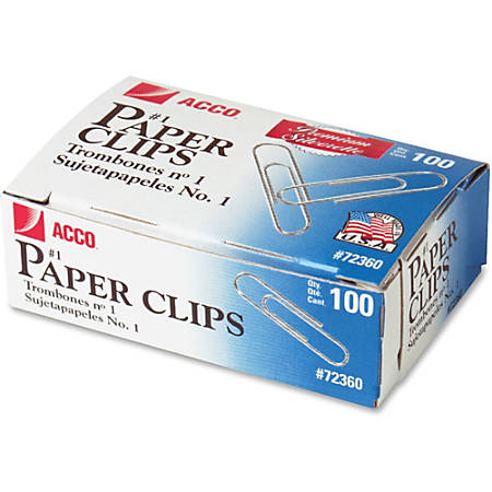 "ACCO® Premium #1 Paper Clips, Smooth Finish, #1 Size 1-9/32"", 100/Box - No. 1 - 10 Sheet Capacity - Galvanized, Corrosion Resistant - 1000 / Pack - Silver - Metal, Zinc Plated"