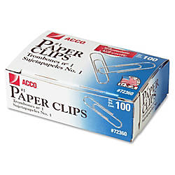 ACCO Premium 1 Paper Clips Smooth