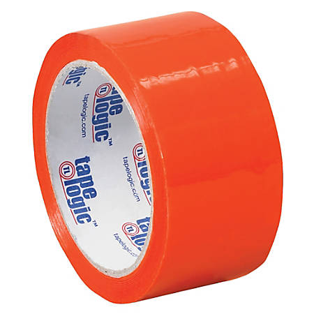"Tape Logic® Carton-Sealing Tape, 3"" Core, 2"" x 55 Yd., Orange, Pack Of 18"