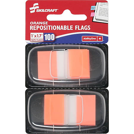 """SKILCRAFT® 70% Recycled Color Self-Stick Flags, 1"""" x 1 3/4"""", Orange, 50 Flags Per Pad, Pack Of 2 (AbilityOne 7510-01-315-2023)"""