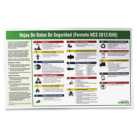 """Impact Products Safety Data Sheet Spanish Poster - 32"""" Width x 20"""" Height - Assorted"""