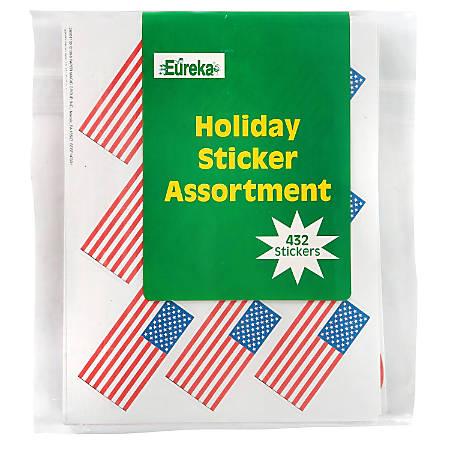 "Eureka Holiday Sticker Assortment, 1 5/16"" x 1 3/4"", Pack Of 432"