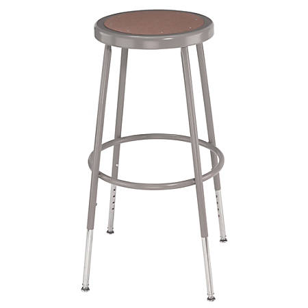 "National Public Seating Adjustable Hardboard Stools, 31 1/2 - 38 1/2""H, Gray, Set Of 3"