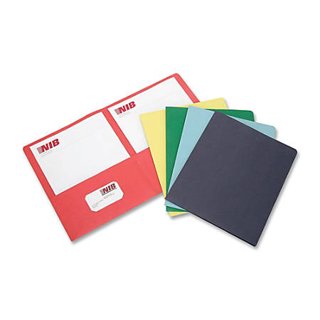 SKILCRAFT® Double-Pocket Portfolios, 30% Recycled, Assorted Colors, Box Of 15 (AbilityOne 7510-01-316-2302)