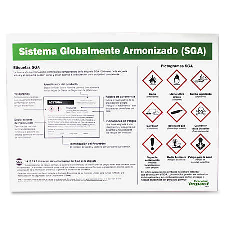 """Impact Products GHS Label Guideline Spanish Poster - 24"""" Width x 18"""" Height - Assorted"""