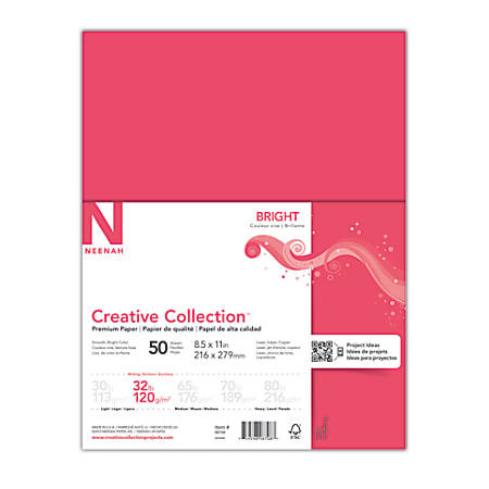 "Neenah Brights® Bright Color Paper, Letter Size (8 1/2"" x 11""), 32 Lb, Bright Red, 50 Sheets"