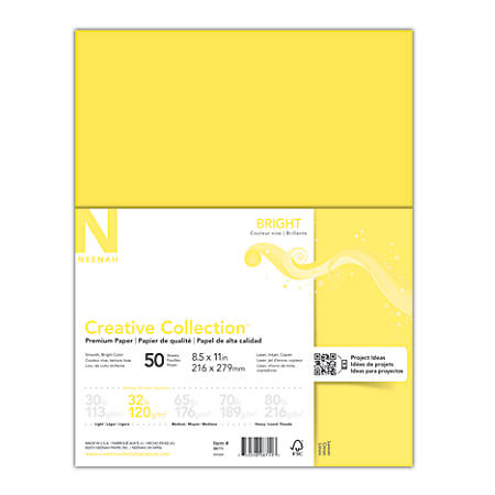"Neenah® Creative Collection™ Bright Specialty Paper, Letter Size (8 1/2"" x 11""), FSC® Certified Paper, Bright Yellow, Pack Of 50 Sheets"