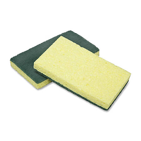 """SKILCRAFT® Heavy-Duty Scrubber Sponges, 6 1/2"""" x 3 1/2"""", Green/Yellow, Pack Of 3"""