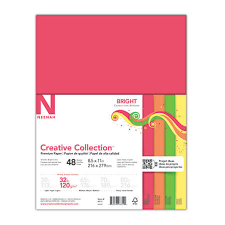 "Neenah® Creative Collection™ Bright Specialty Paper, Letter Size (8 1/2"" x 11""), FSC® Certified Paper, Assorted Colors, Pack Of 48 Sheets"