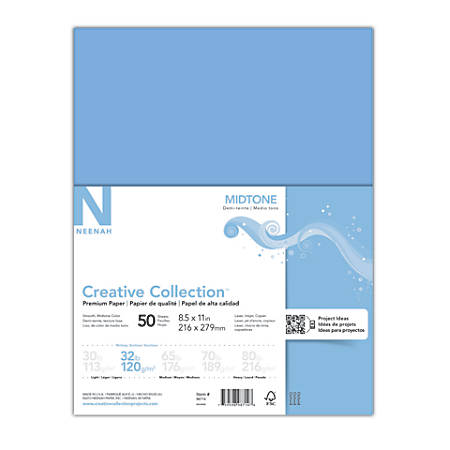 "Neenah® Creative Collection™ Midtone Specialty Paper, 8 1/2"" x 11"", FSC® Certified, Blue, Pack Of 50 Sheets"