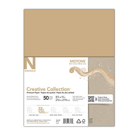 """Neenah® Creative Collection™ Midtone Specialty Paper, Letter Size (8 1/2"""" x 11""""), FSC® Certified, Moccasin, Pack Of 50 Sheets"""