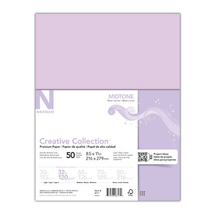 "Neenah® Creative Collection™ Midtone Specialty Paper, 8 1/2"" x 11"", FSC® Certified, Purple, Pack Of 50 Sheets"