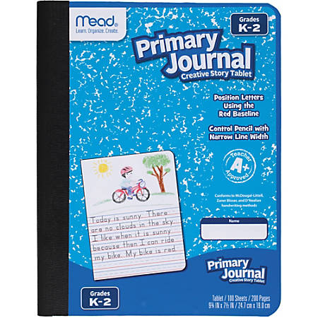 "Mead K-2 Classroom Primary Journal - 100 Sheets - 7.5"" x 9.8"" - Assorted Cover - 1Each"
