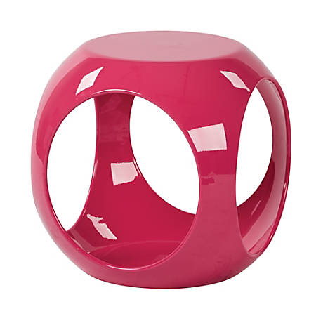 Ave Six Slick Accent Table, High-Gloss Pink/Pink