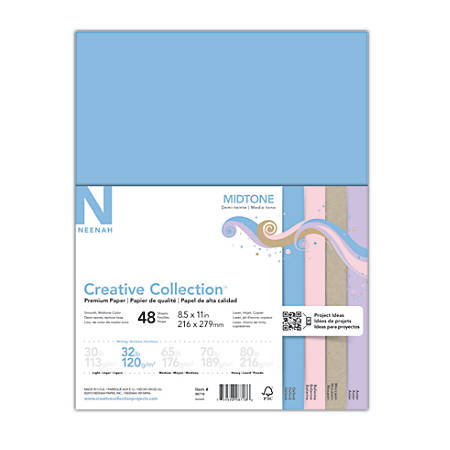 "Neenah® Creative Collection™ Midtone Specialty Paper, Letter Size (8 1/2"" x 11""), FSC® Certified, Assorted Colors, Pack Of 48 Sheets"