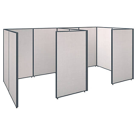 "Bush Business Furniture ProPanels 2-Person Closed Cubicle Office, 67""H x 150 1/8""W x 76 1/8""D, Light Gray, Standard Delivery"