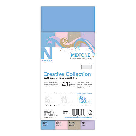"""Neenah® Creative Collection™ Envelopes, #10, 4 1/8"""" x 9 1/2"""", 32 Lb, Mid-Tone 4-Color Assortment, Pack Of 48"""