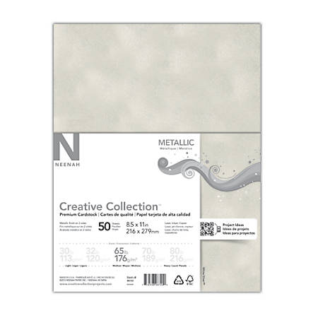 "Creative Collection™ Metallic Specialty Card Stock, Letter Size (8 1/2"" x 11""), White Silver, Pack Of 50 Sheets"