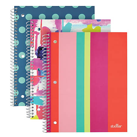 """Office Depot® Brand Fashion Stellar Poly Notebook, 8"""" x 10 1/2"""", Wide Ruled, Assorted Designs, 80 Sheets"""