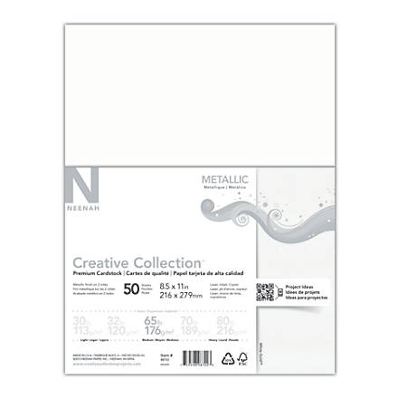 "Creative Collection™ Metallic Specialty Card Stock, 8 1/2"" x 11"", White Gold, Pack Of 50 Sheets"
