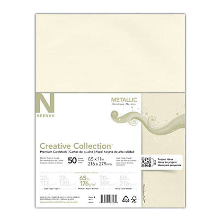 "Creative Collection™ Metallic Specialty Card Stock, Letter Size (8 1/2"" x 11""), Champagne Pearl, Pack Of 50 Sheets"