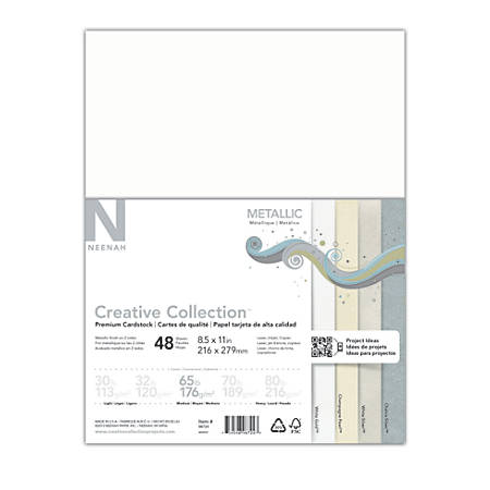 Neenah® Creative Collection™ Metallic Midtone Card Stock, Letter Size Paper, 65 Lb, FSC® Certified, Assorted Colors, 48 Sheets
