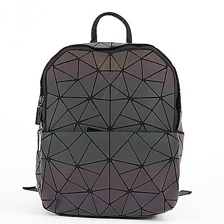 "Inkology Geometric Iridescent Backpack With 13"" Laptop Pocket, Black"