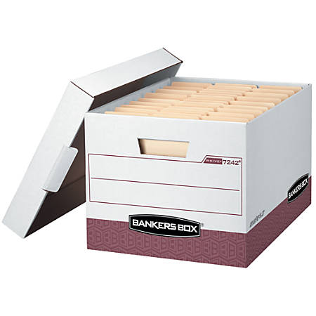 """Bankers Box® R-Kive® Storage Boxes, Letter/Legal, 15"""" x 12"""" x 10"""", 60% Recycled, White/Red, Pack Of 12"""