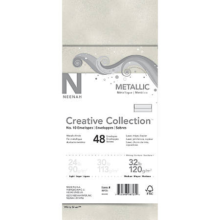 "Neenah® Creative Collection™ Envelopes, #10, 4 1/8"" x 9 1/2"", 32 Lb, Metallic, White Silver™, Pack Of 48"