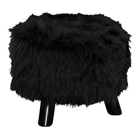 Linon Home Décor Products Claire Faux Fur Ottoman, Black